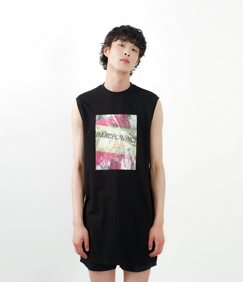 [16 s/s Go on a Trip]Long graphic sleeveless shirt(BLACK)