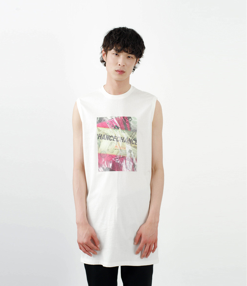 [16 s/s Go on a Trip]Long graphic sleeveless shirt(WHITE)