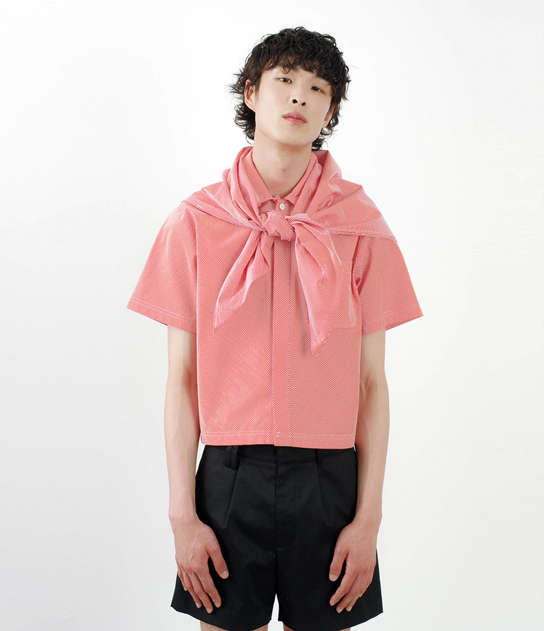 [16 s/s Go on a Trip]Crop stripe shirt(RED)